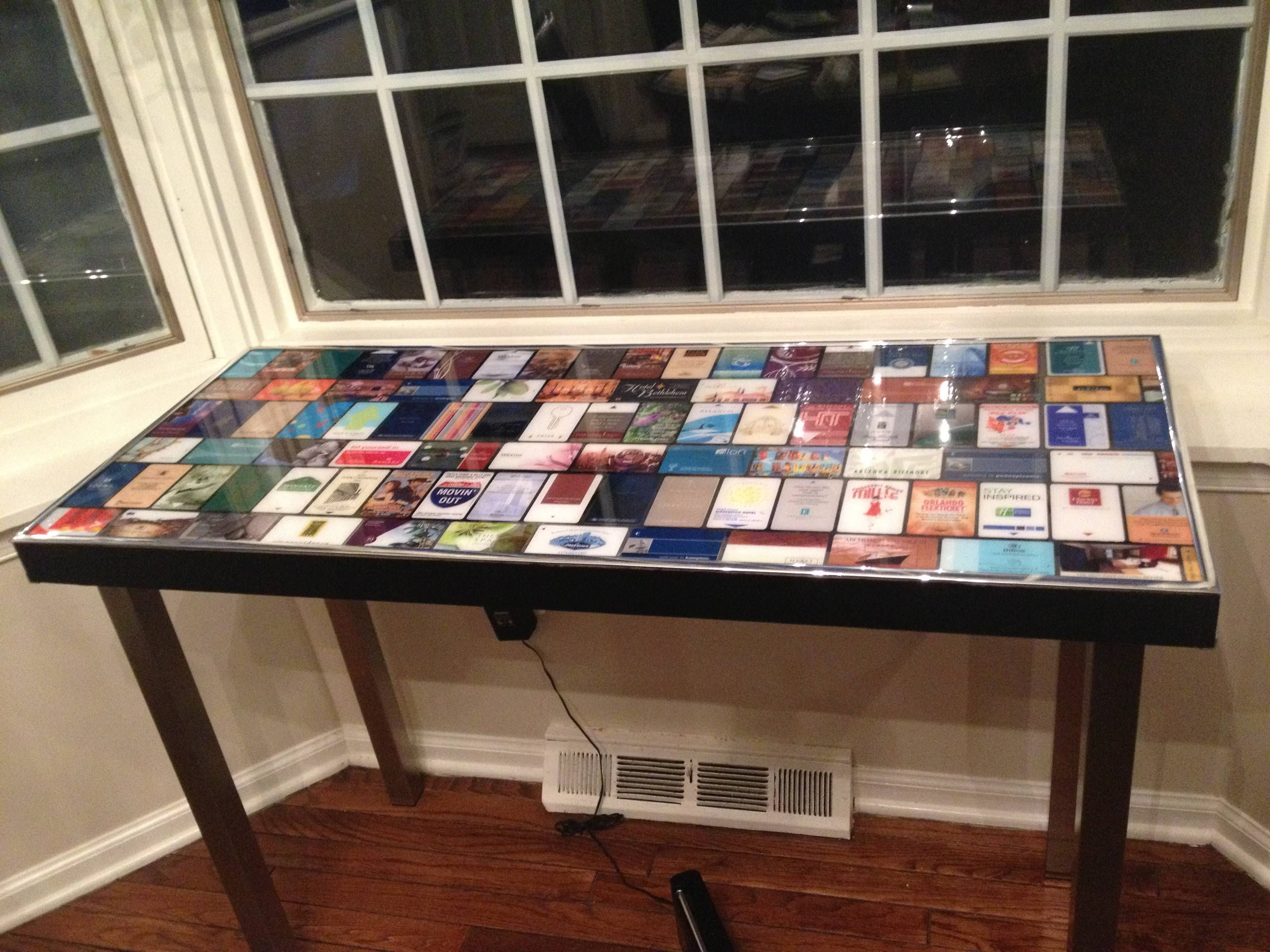 Ikea Table With Hotel Key Cards Hotel Card Hotel Key Cards Game Room Basement