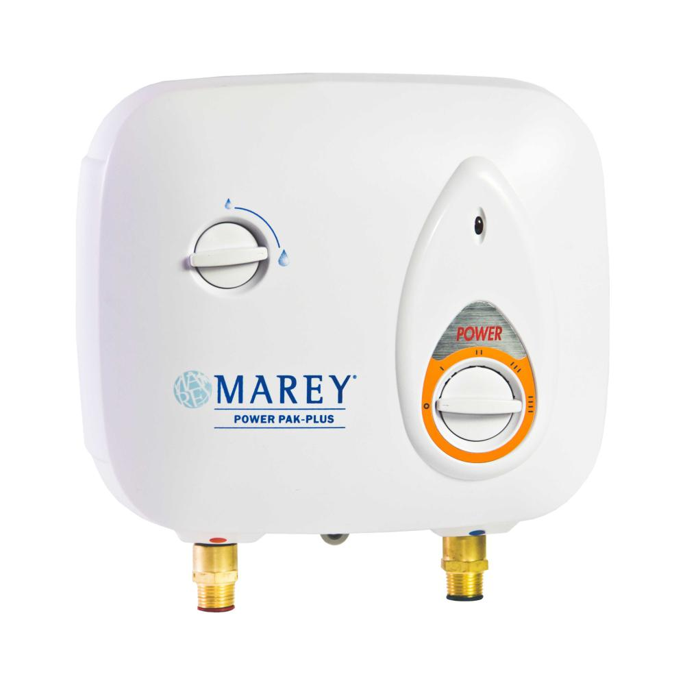 Marey 2 0 Gpm Electric Tankless Water Heater Power Pack 220 Volt Ppxe5 The Home Depot Electric Water Heater Tankless Water Heater Tankless Hot Water Heater
