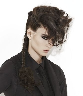 A long brown straight messy ponytail plaited quiff Womens hairstyle by Monroe Hairdressing ...
