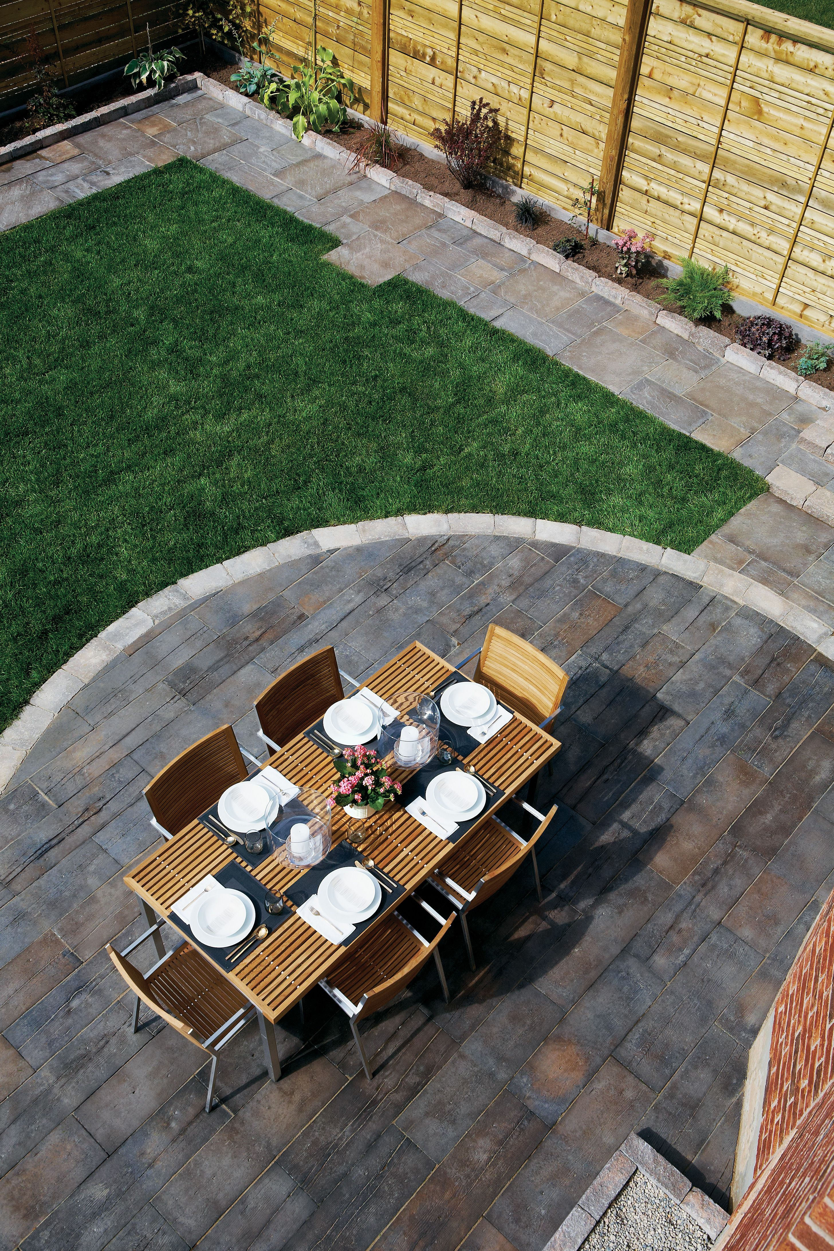 Small Patio Decorating Ideas by Kelly of View Along the ... |Slab Patio Decorating Ideas