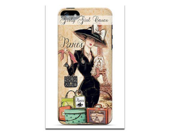 Vintage Cell Phone Case. Paris Shopper by TheGirlyGirlCaseShop