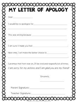 Apology Letter   Tibet   Classroom behavior management