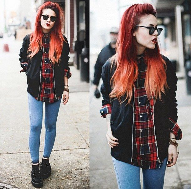 Fashion Girl Grunge Hair Look Outfit Rock Style