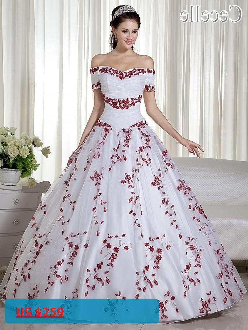 Red ball gown wedding dress   Real White And Red Ball Gown Colorful Wedding Dresses Off the