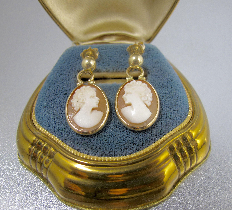 14K Yellow Gold Oval Shaped Tiger Eye Scarab Earrings