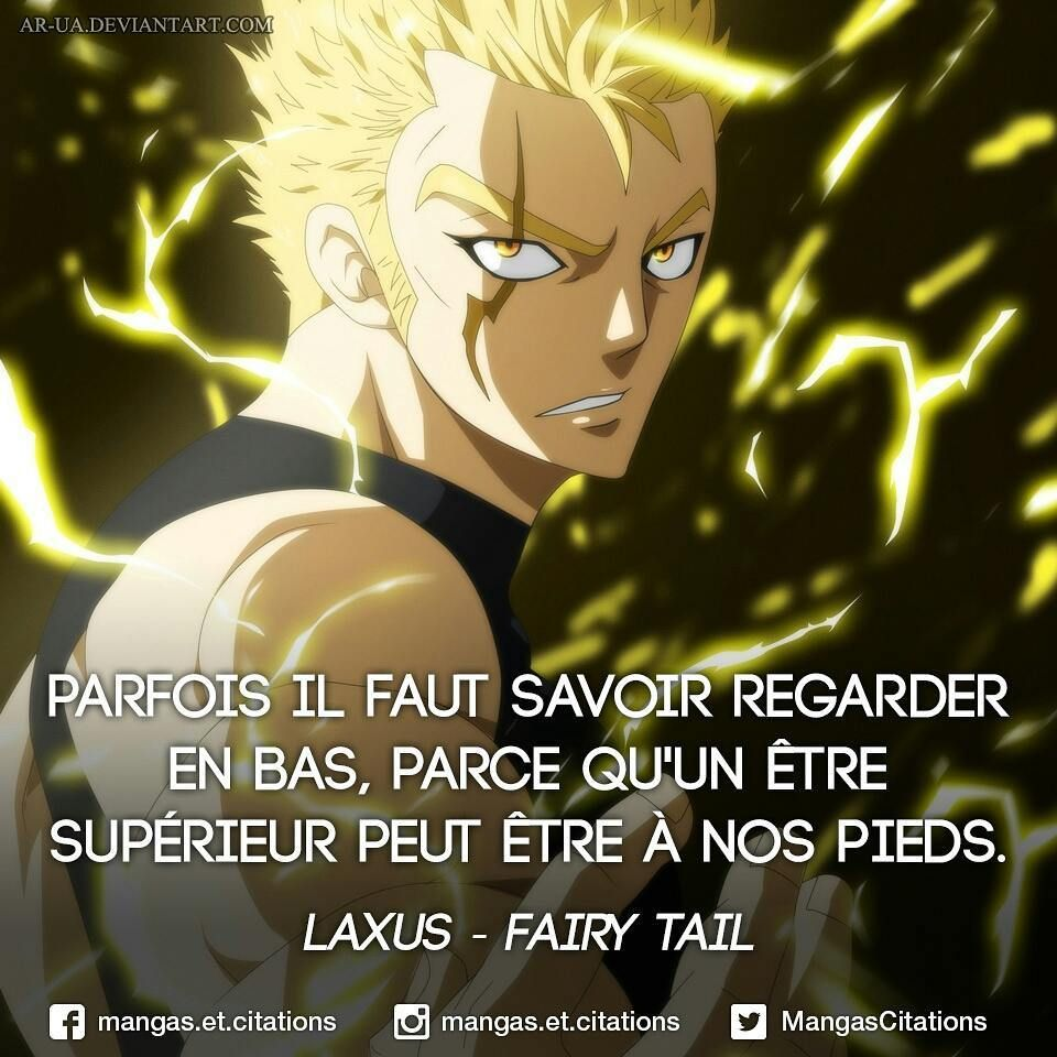 """Photo of Manga / Anime Quote ?️?? on Instagram: """"Sometimes you have to know how to look down, because a higher being can be at our feet. #Laxus #FairyTail Credits for the illustration:… """""""