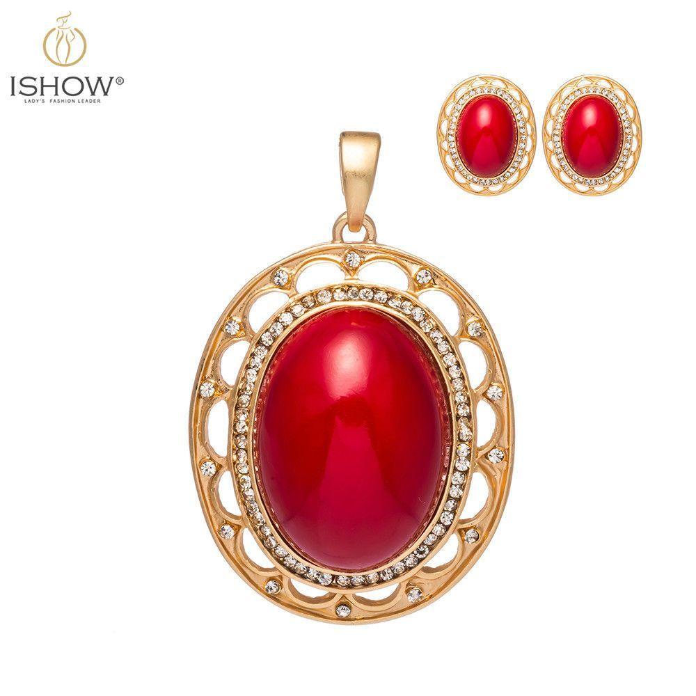Elegant big red crystal gold plated hollow pendant stud earrings