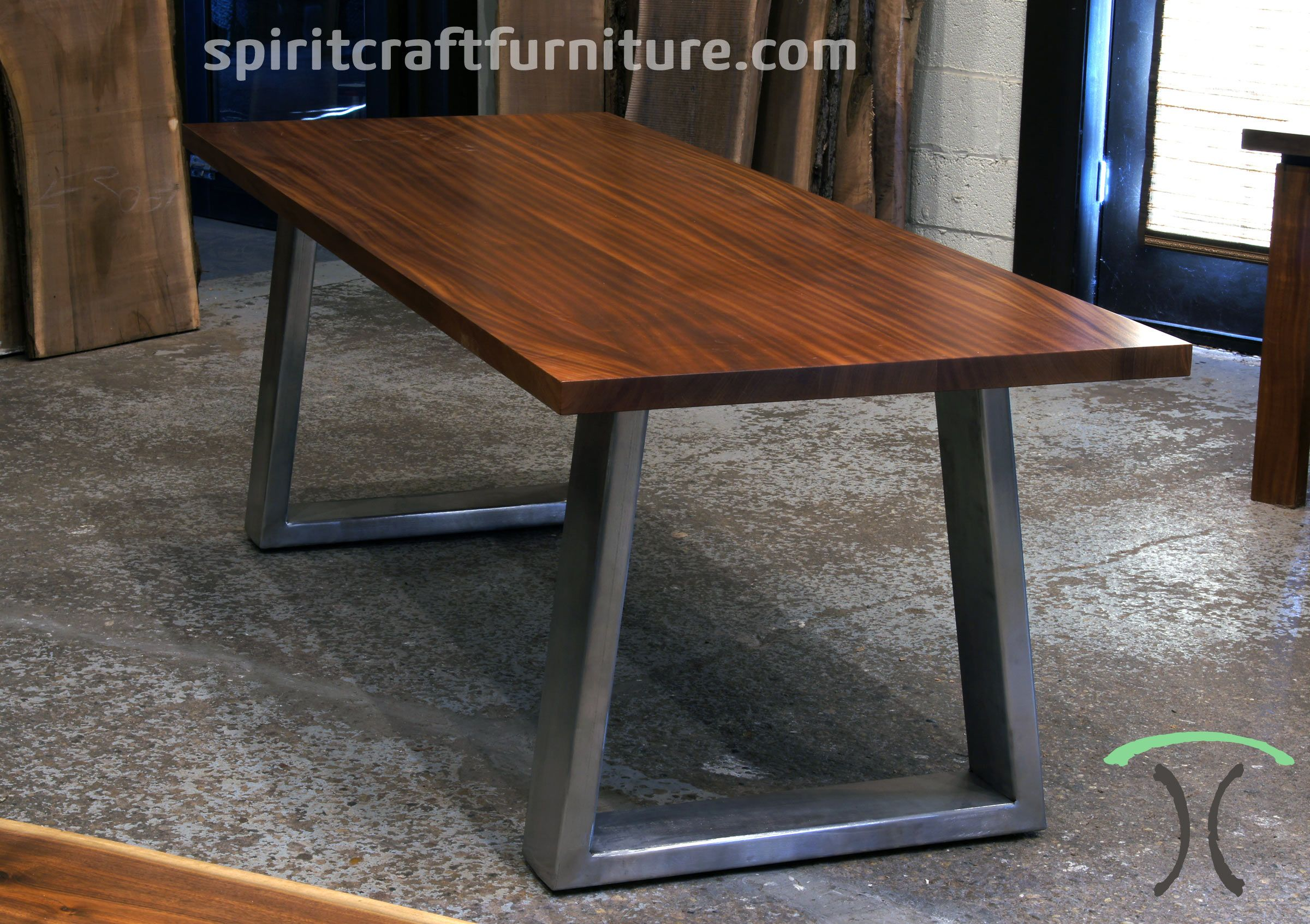Sapele Mahogany Slab Conference Table Desk On Massive Stainless Steel Mid Century Moder Live Edge Slab Dining Table Steel Dining Table Legs Slab Dining Tables