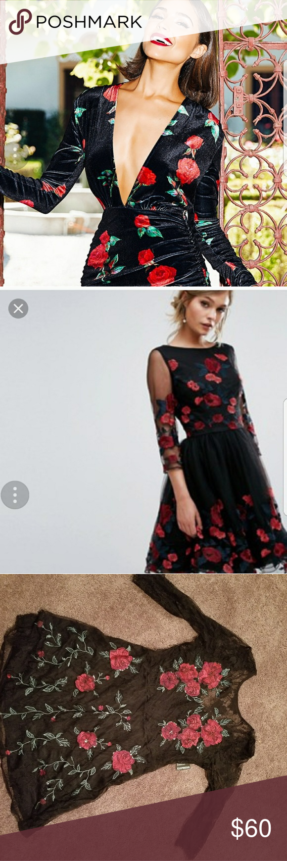 New W Tags Embroidered Lace Dress Red Floral Black Embroidered Lace Dress Red Lace Dress Lace Dress [ 1740 x 580 Pixel ]