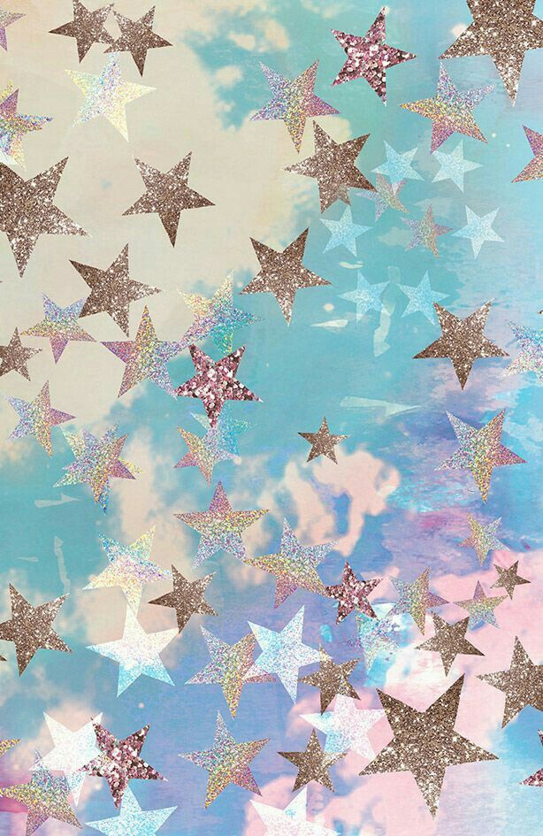 Stars Clouds Blue Pink Gold Wallpaper Cute Wallpapers