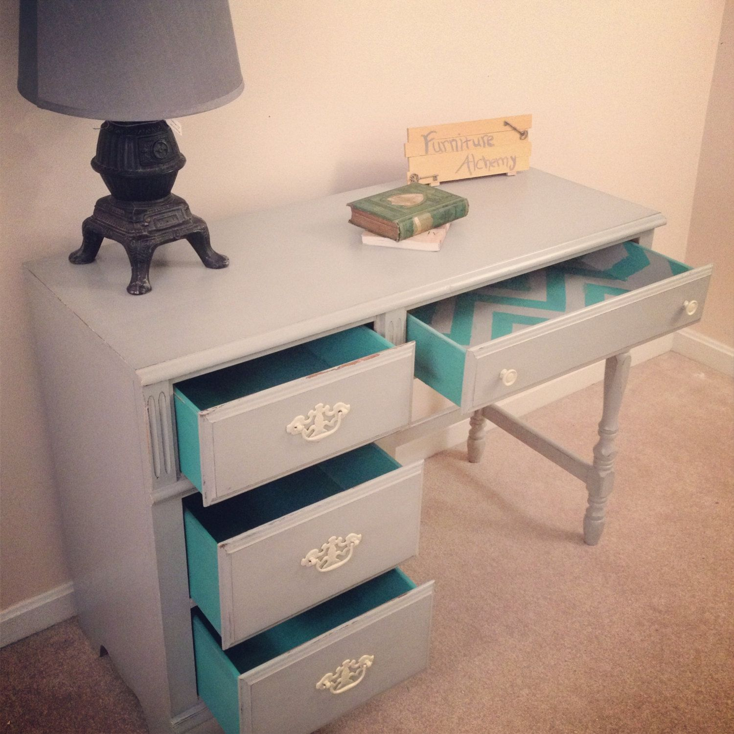 Vintage Paris Grey and Turquoise desk or vanity shabby
