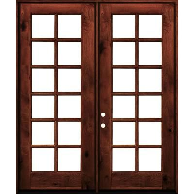 Krosswood Doors 60 In X 96 In French Knotty Alder Wood 12 Lite Clear Glass Red Chestnut Stain Left Active Double Prehung Front Door Clear Glass Red Mahogany Stain Double Doors Exterior