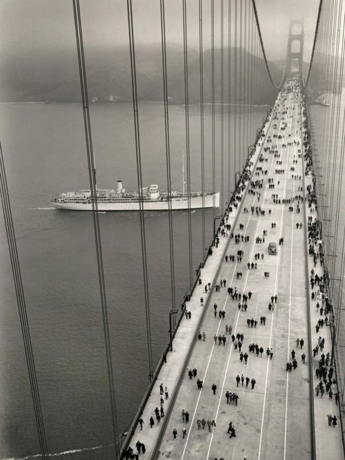 The Golden Gate Bridge's opening day: May 27, 1937. Taken by an unknown photographer.