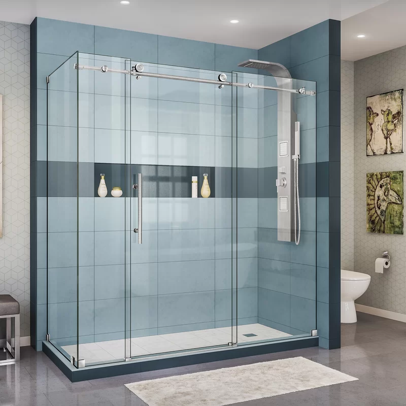 Enigma X 72 38 X 76 Single Sliding Frameless Shower Enclosure With Clear Max Technology Bathroom Shower Doors Frameless Shower Doors Frameless Shower Enclosures