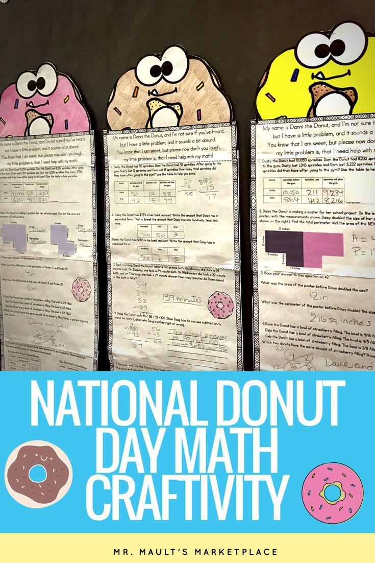 Danni the Donut Math Craftivity- Multi-Step Word Problem- Grades 2-5 ...