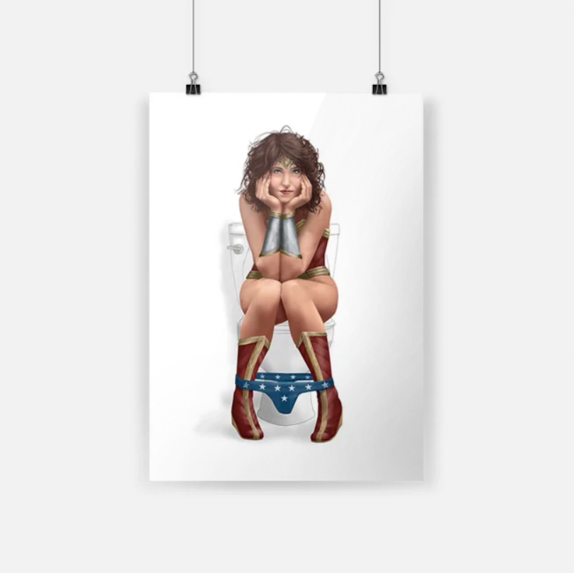 Badass version Superhero bathroom wonder woman on the toilet poster