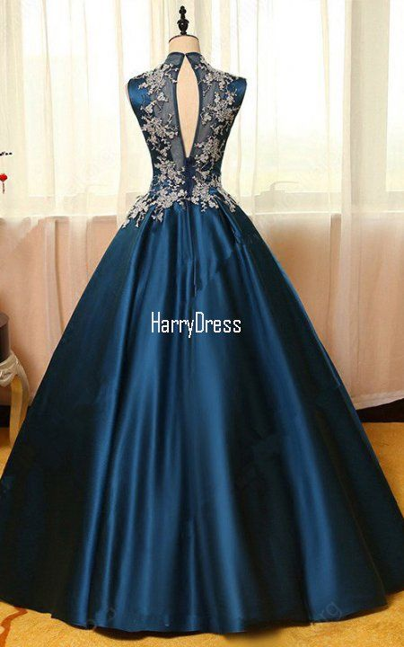 Dark Navy Ball Gown High Neck Satin Tulle Floor Length Appliques Lace Prom  Dress