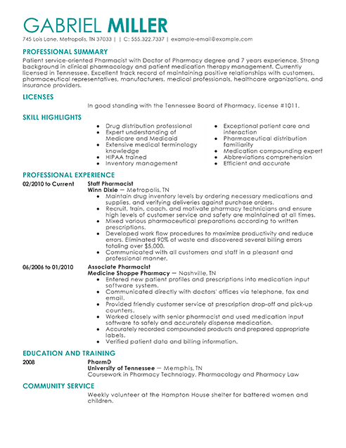 Pharmacist Resume Examples Medical Sample Resumes