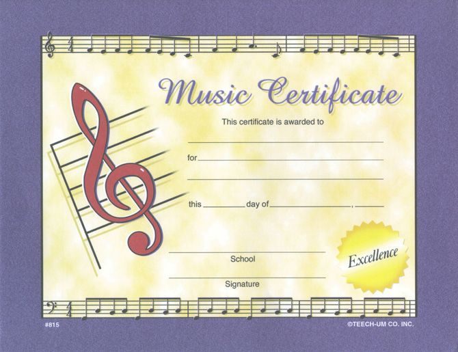 LARGE MUSIC CERTIFICATE w  Gold Seals PKG 28 - 8½ - fresh fillable certificate of appreciation