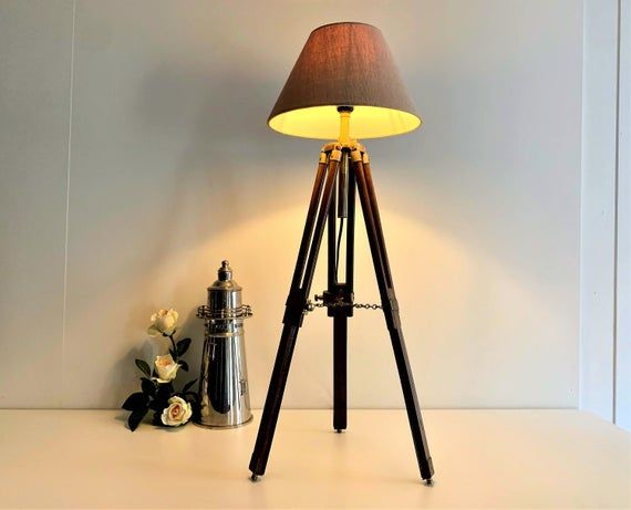 Vintage Tripod Lamp Surveyor s Tripod Table Lamp Quality Mahogany and Brass Lamp Vintage Adjus