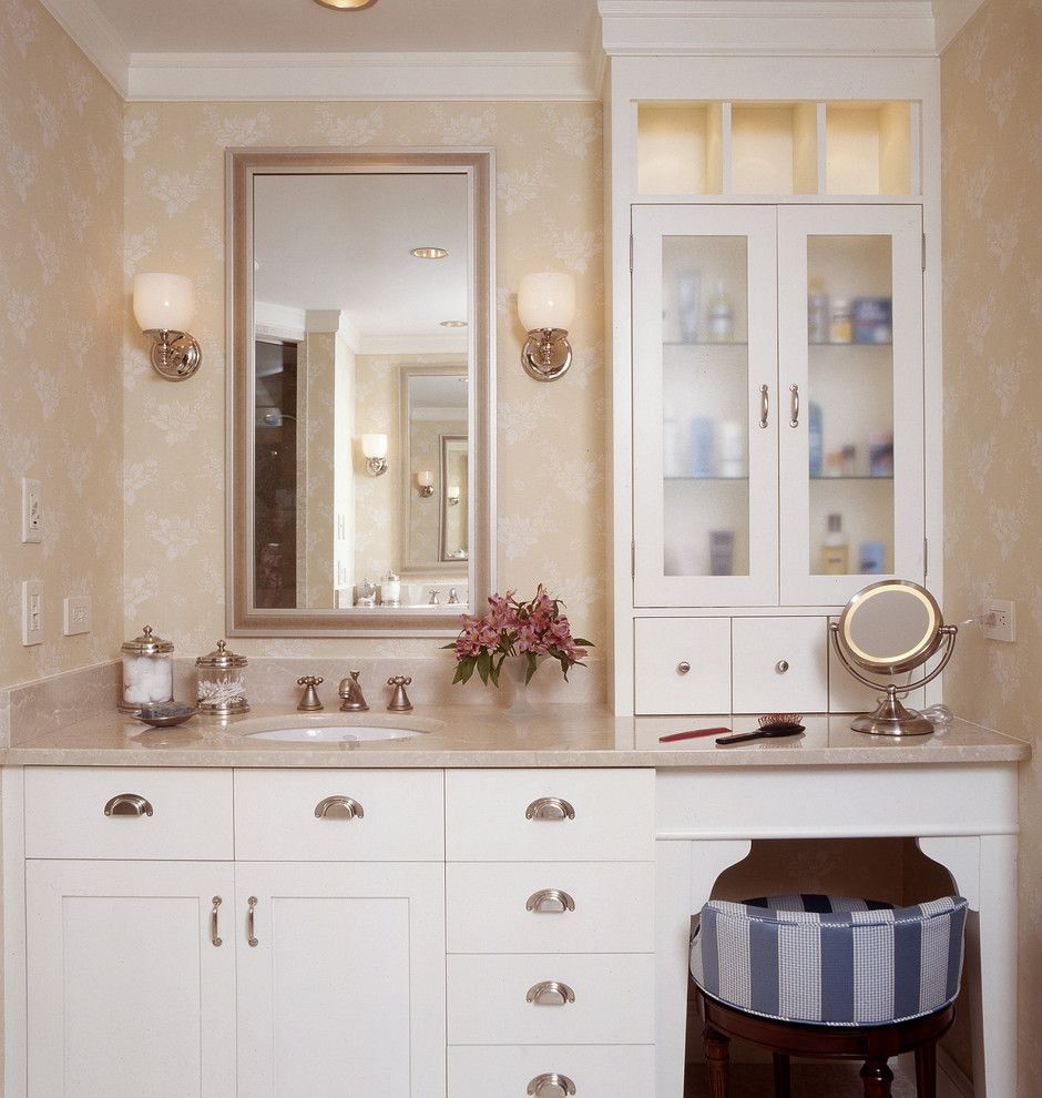 Pretty makeup vanitiesin Bathroom Traditional with Beguiling Dual ...