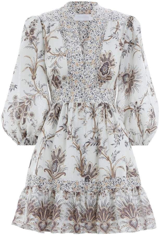 085f55ff Zimmermann Tali Bib Front Short Dress in Spliced | Zimmermann in ...
