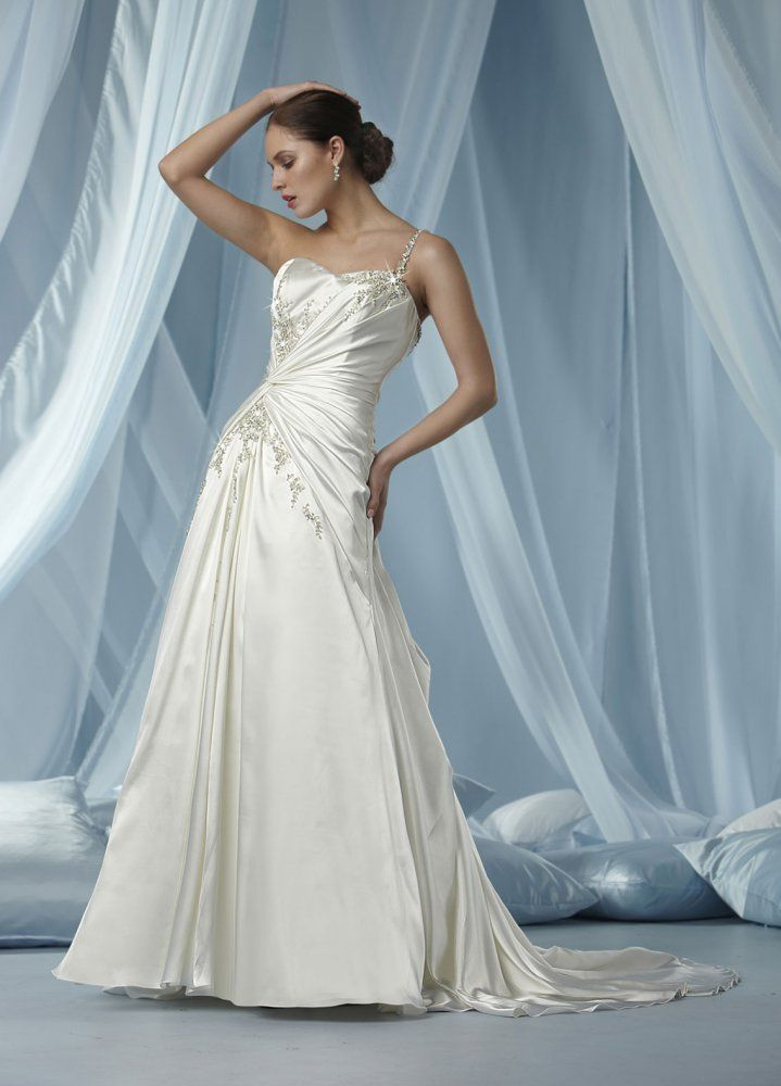 A-line One Shoulder Beaded Strap Ruched Bodice Covered Buttons Satin ...