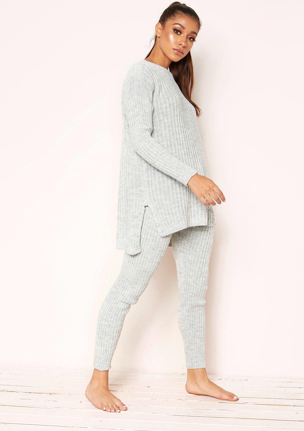 4a84e5f5e4ea Missyempire - Anya Grey Knit Jumper Loungewear Set