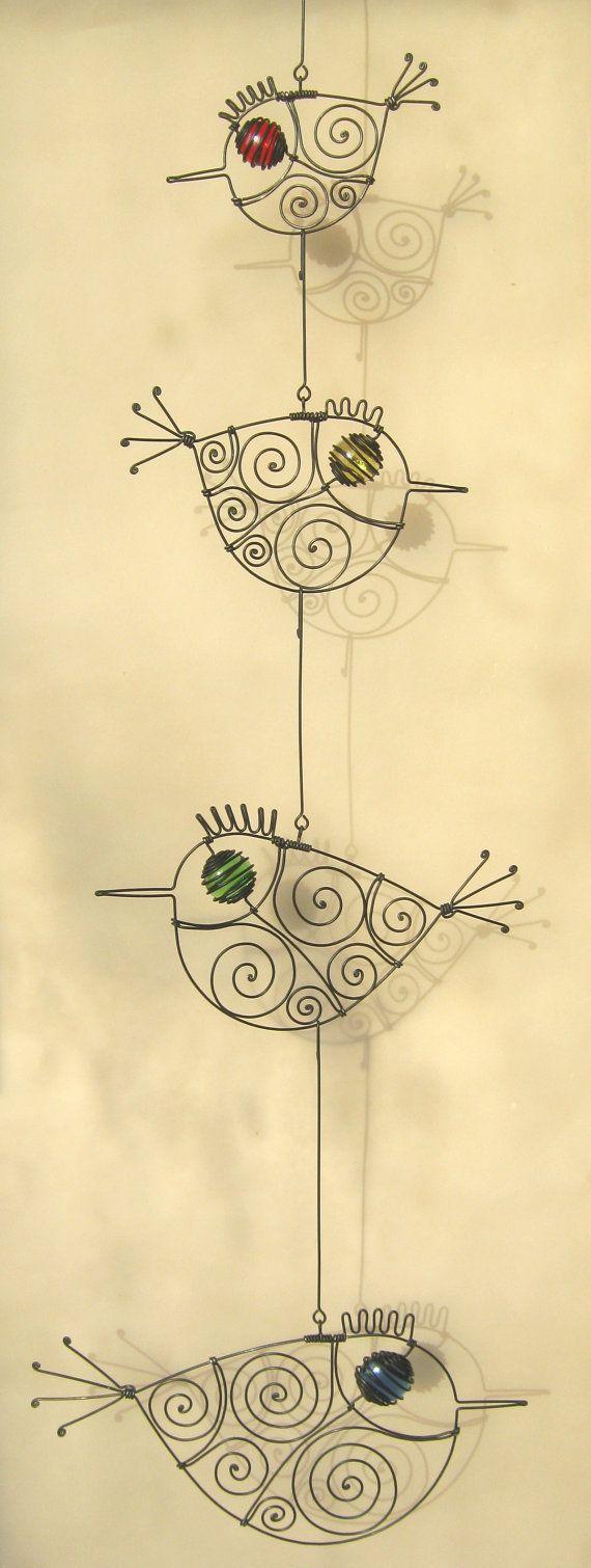 Wire Art Wall Decor, Four Wire Birds Mobile Sculpture, Valentine\'s ...