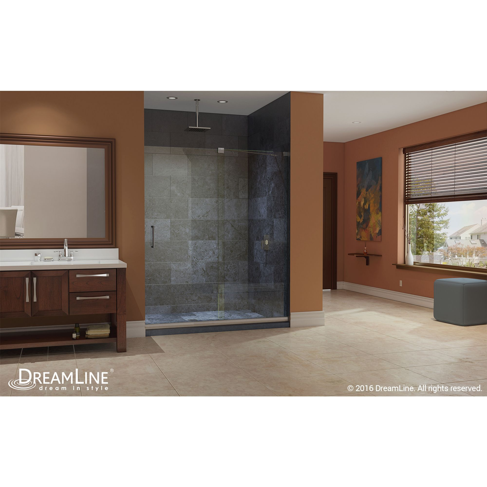 Mirage Shower Door From DreamLine, The Ultimate Shower Door!  #DreamLineShowerDoor #DreamLine #Autumn #Fall #Inspiration #FramelessShowerDoor #Brown #Harvest #FallColors #Bathroom #BathroomDecor #FallStyle