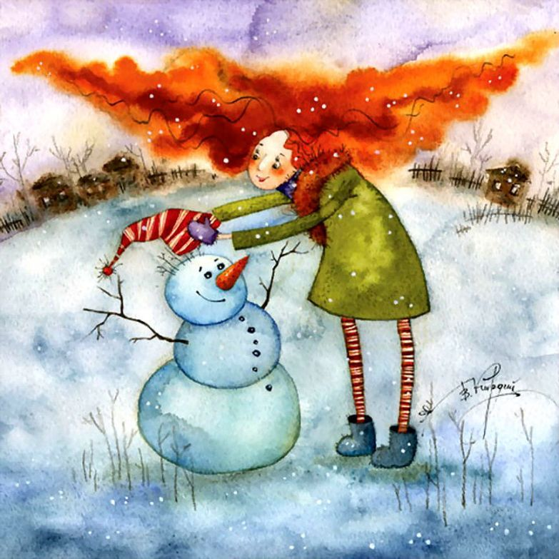 Открытка марта, смешные рисунки зимы