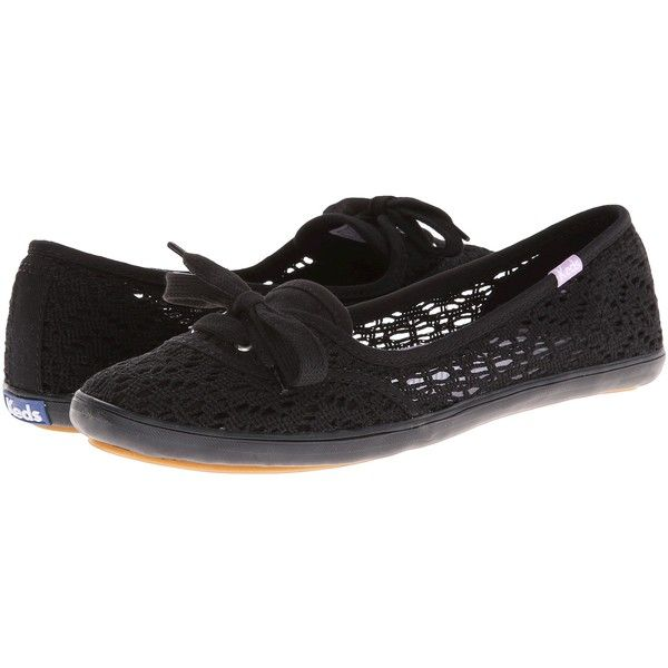 Keds Teacup Crochet (Black) Women's Shoes ($25) ❤ liked on Polyvore  featuring