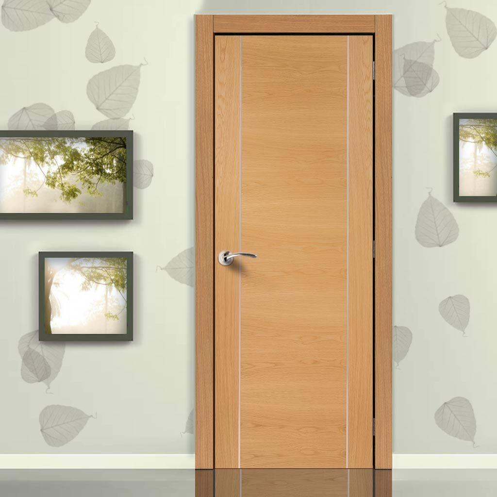 Fire Rated Forli Oak Door Aluminium Inlay Half Hour Rated Prefinished Internal Doors Flush Doors Fire Doors