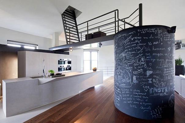 Cylindrical Blackboard Wall