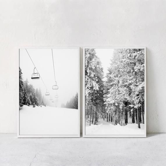 Photo of Set Of 2 Ski Print Forest Printable Wall Art Winter Photography Black And White Downloadable Prints Two Piece Winter Posters Above Bed Art