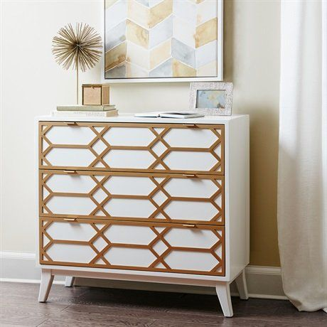 Madison Park Maria Gold Lattice Accent Chest White See be...