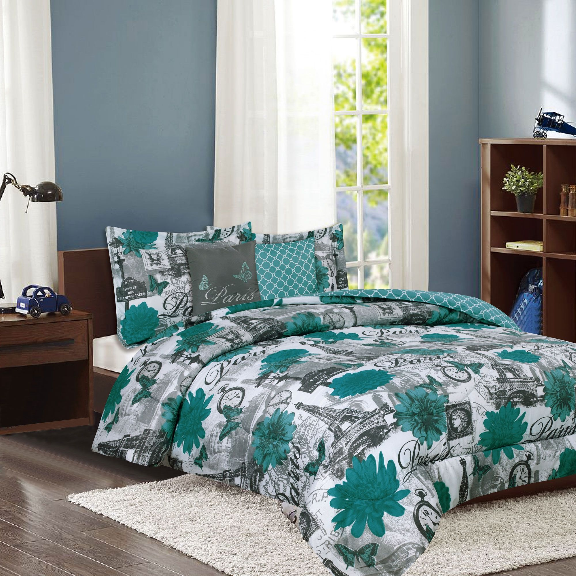 Crest Home Paris Palais Bedding Twin Comforter 4 Piece Bed Set