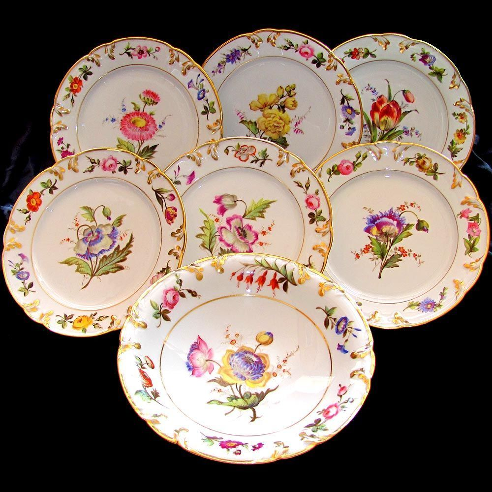 Gorgeous antique French porcelain dessert set by Pillivuyt circa Comprising of six plates and a pedestal footed from The Antique Boutique on Ruby Lane & Antique French Pillivuyt Gilt Porcelain Hand Painted Flowers ...