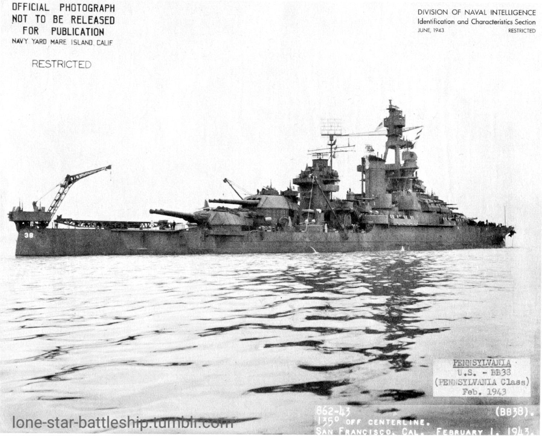 USS Pennsylvania (BB38) near Mare Island Navy Yard on