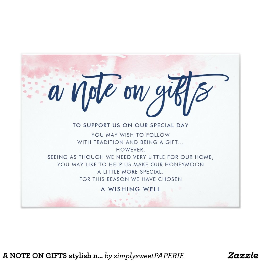 Wedding Invitation Gift: A NOTE ON GIFTS Stylish Navy Blush Pink Watercolor