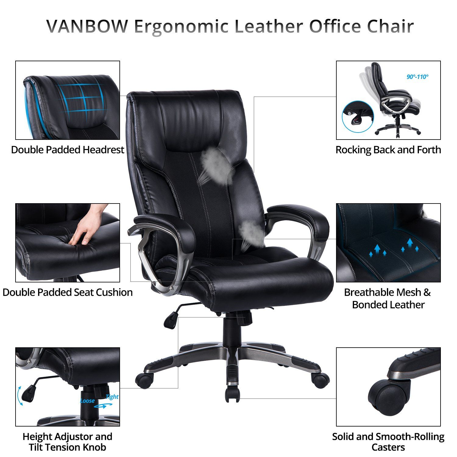 Vanbow High Back Office Chair 90a 110a Rocking And Lock Function