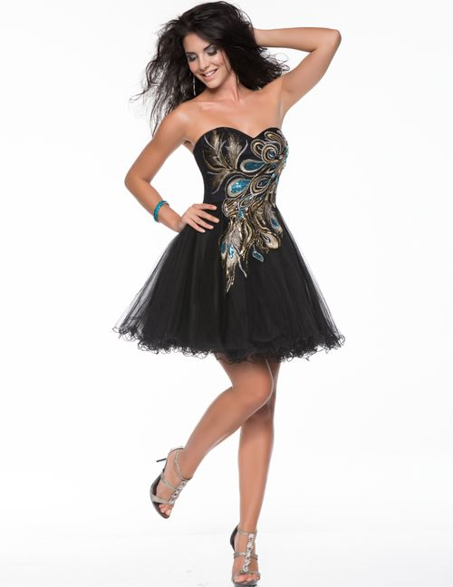 Black & Gold Embroidered Sweetheart Tulle Short Prom Dress ...