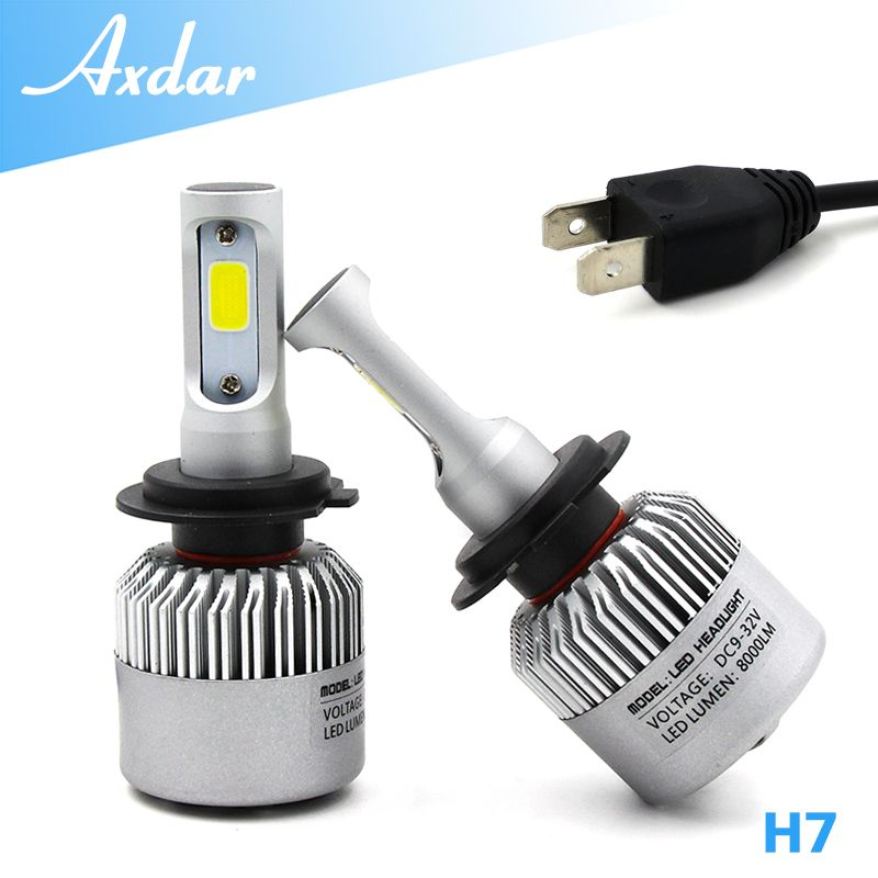 2pcs Set 8000lm All In One No Ballast Single Beam Car H7 Cob Led Headlight Bulb Kit 6500k Led Headlights Car Headlight Bulbs Headlight Bulbs
