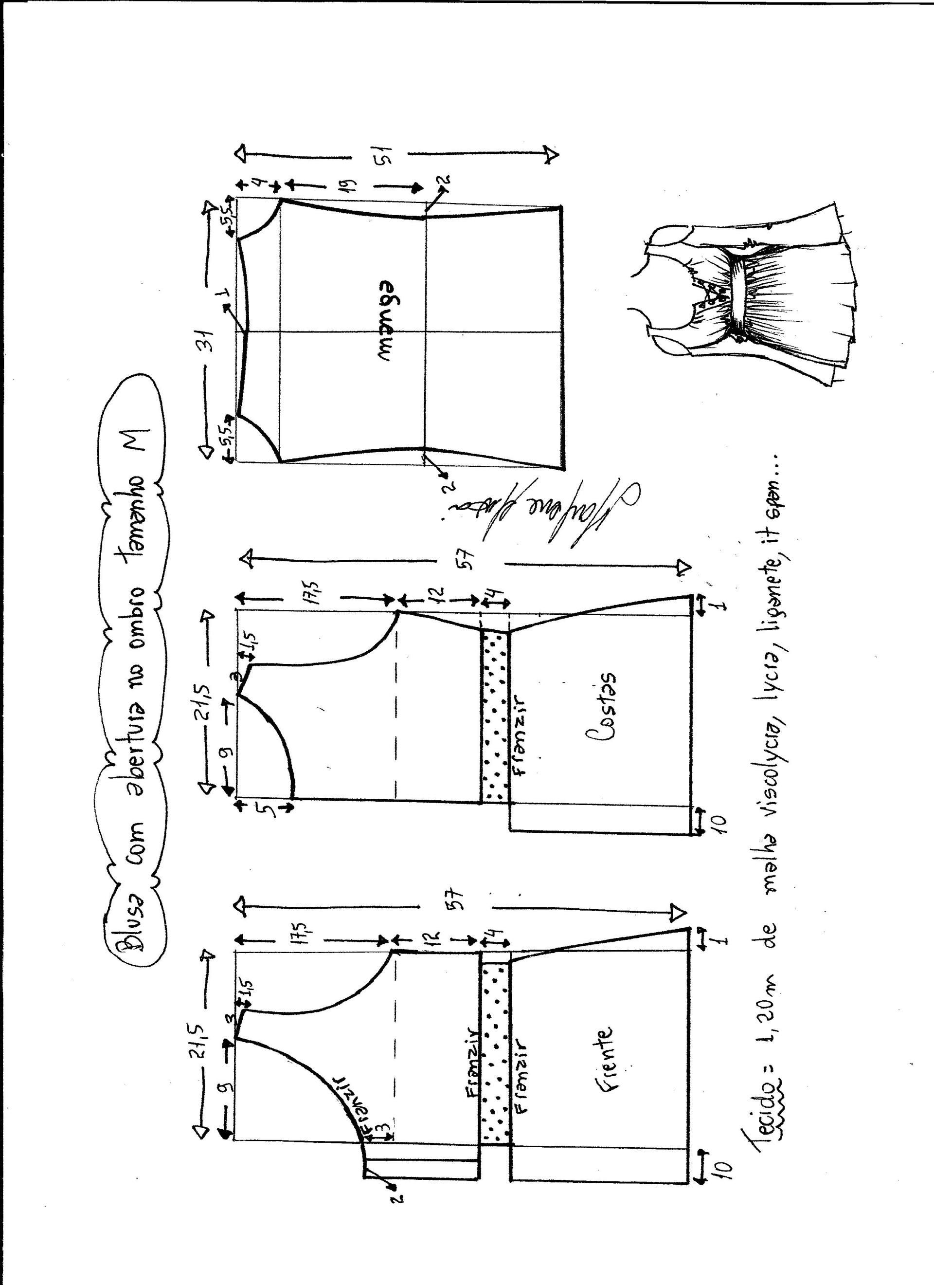 Patrón de Blusa con abertura en el hombro | Diseños para mi ...