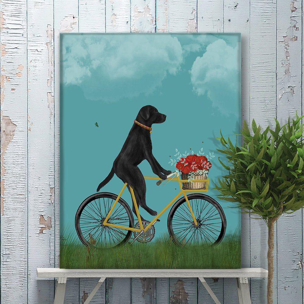 Cycling gift black labrador on bicycle vintage bike
