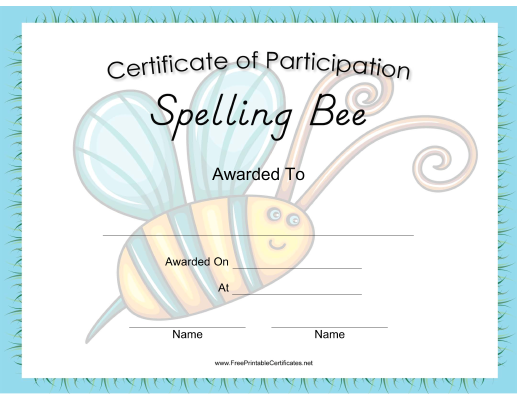 This Spelling Bee Certificate Features An Actual Spelling Bee In The