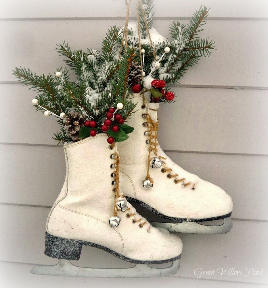 Green willow pond repurpose old ice skates seasonal for Pond decorations
