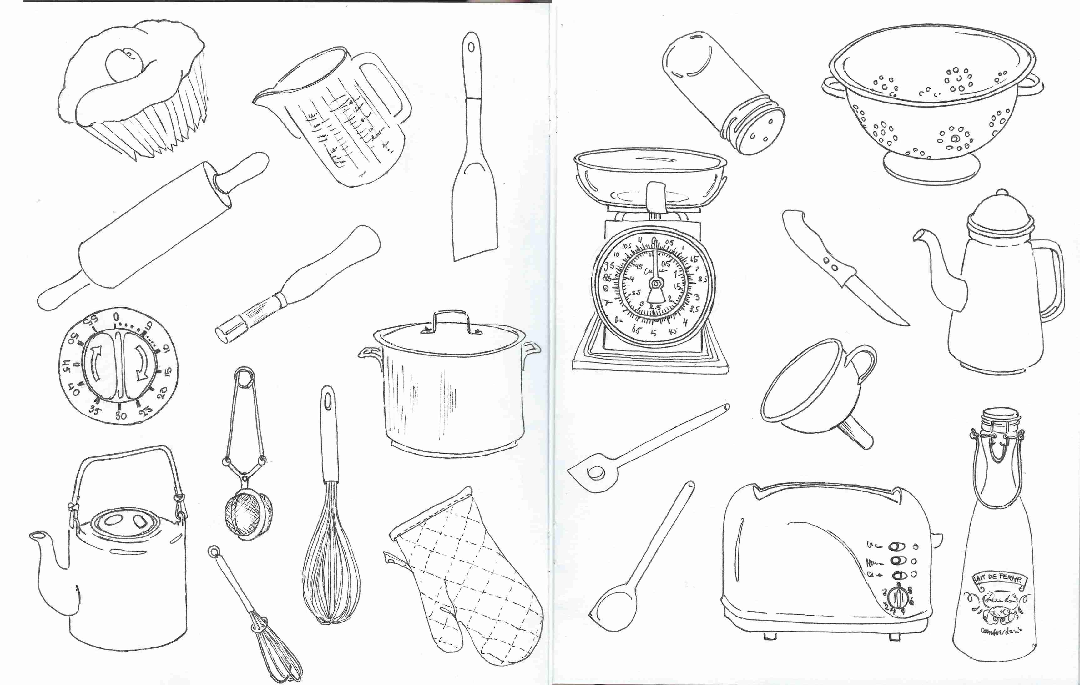 Black and white kitchen stuff | Sketchnotes | Pinterest