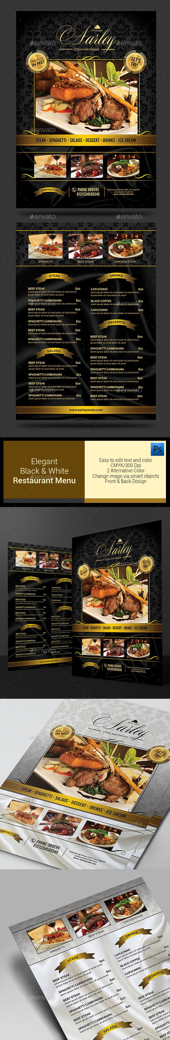Elegant Black  White Restaurant Menu  White Restaurant Food