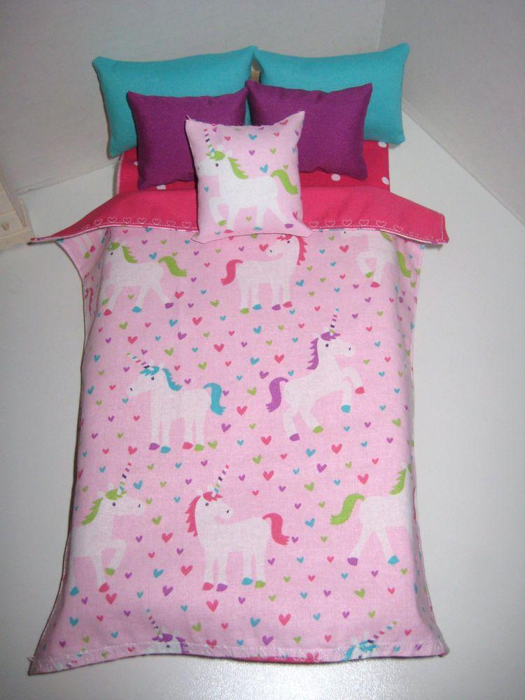 Barbie Doll Unicorn Print Bedding 5 Pc Comforter Set In Pink